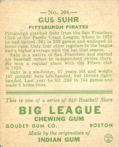 1933 Goudey #206 Gus Suhr RC back image