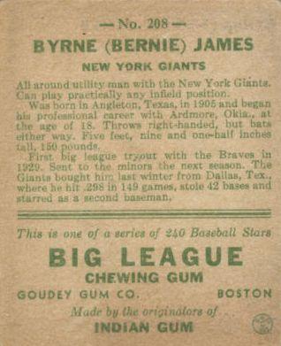 1933 Goudey #208 Bernie James RC back image