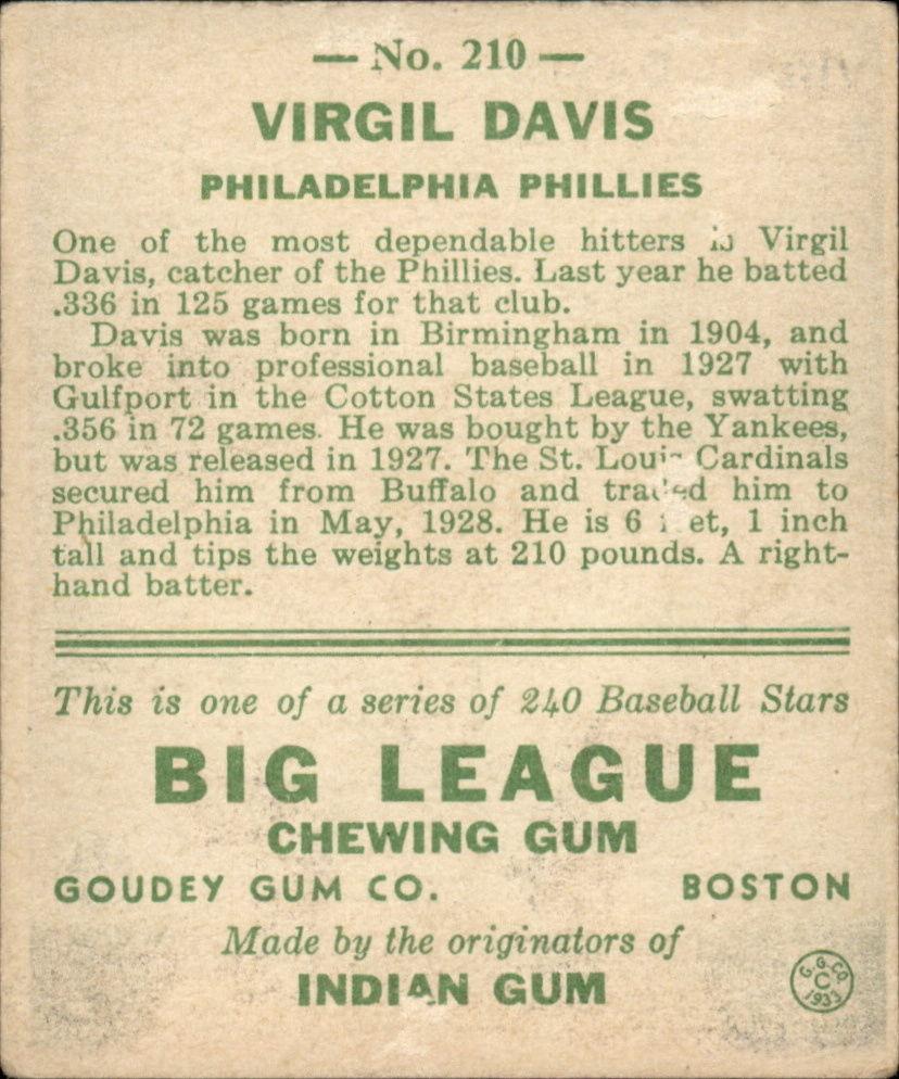 1933 Goudey #210 Spud Davis RC back image