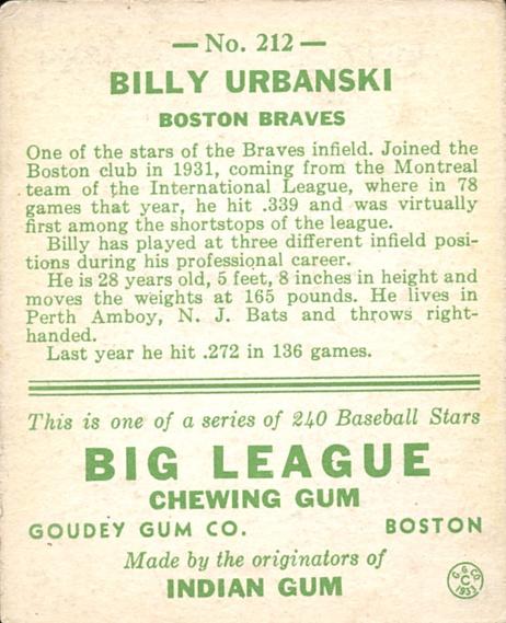 1933 Goudey #212 Billy Urbanski RC back image