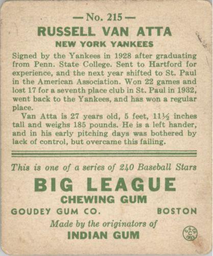 1933 Goudey #215 Russ Van Atta RC back image