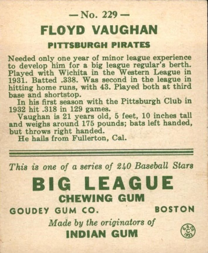 1933 Goudey #229 Arky Vaughan RC back image