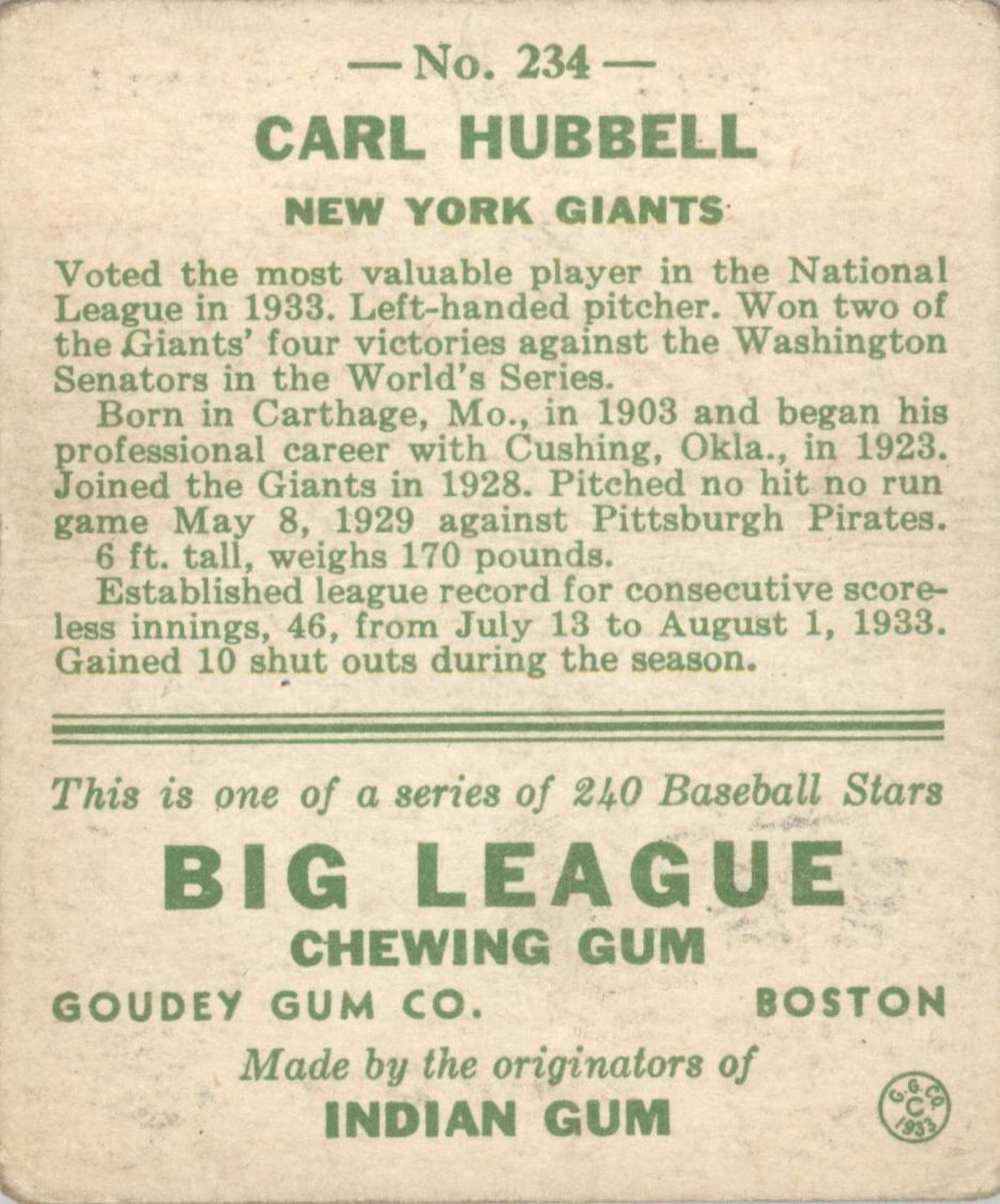 1933 Goudey #234 Carl Hubbell RC back image