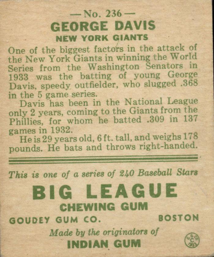 1933 Goudey #236 George Davis RC back image