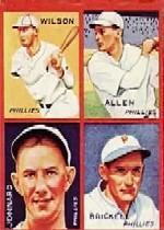 1935 Goudey 4-in-1 #36-6 Jimmy Wilson/Ethan Allen/Bubba Jonnard XRC/Fred Brickell/6C (Jimmie Foxx Puzzle)
