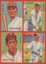 1935 Goudey 4-in-1 #29-9 Al Spohrer/Flint Rhem/Ben Cantwell/Larry Benton/9L (Washington Senators Puzzle)