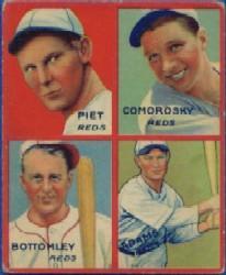 1935 Goudey 4-in-1 #24-5 Tony Piet/Adam Comorosky/Jim Bottomley/Sparky Adams/5F SP (Joe Cronin Puzzle)