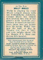 1937 Goudey Thum Movies R342 #5 Wally Moses