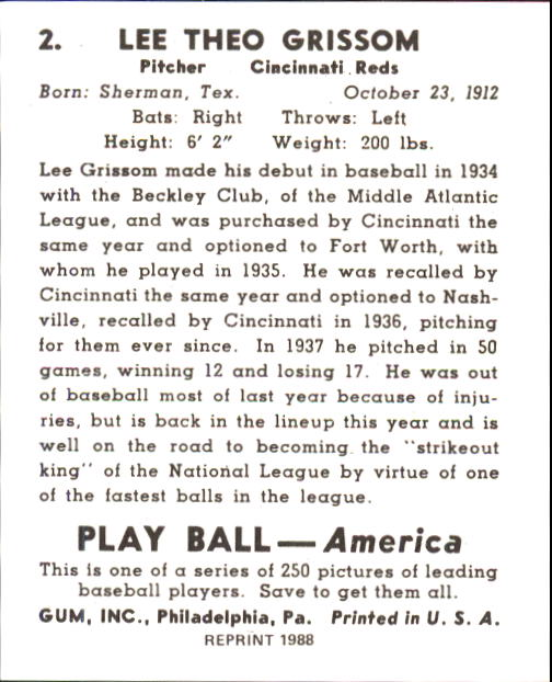 1939 Play Ball #2 Lee Grissom RC back image