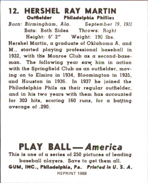 1939 Play Ball #12 Hershel Martin RC back image