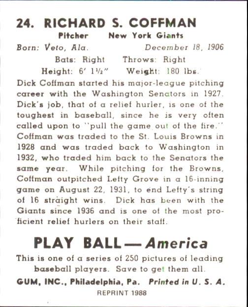 1939 Play Ball #24 Richard Coffman back image