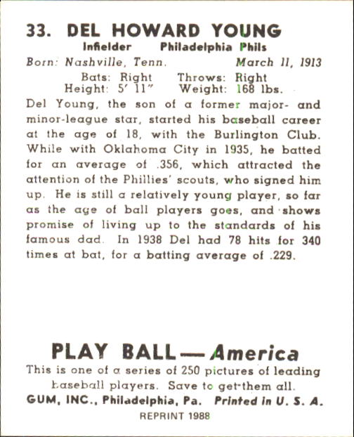 1939 Play Ball #33 Del Young RC back image