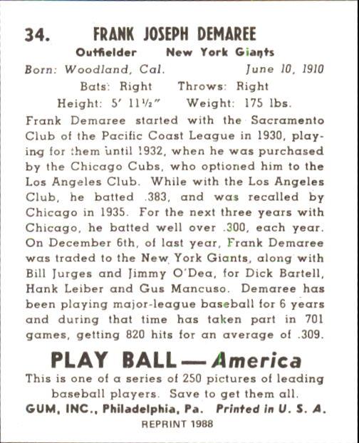 1939 Play Ball #34 Frank Demaree back image