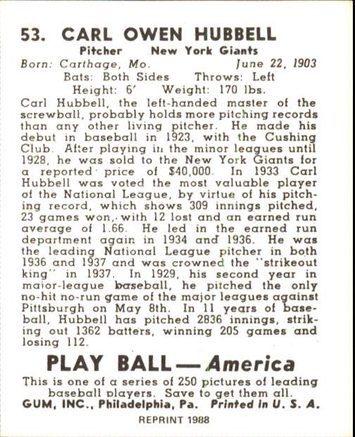 1939 Play Ball #53 Carl Hubbell back image