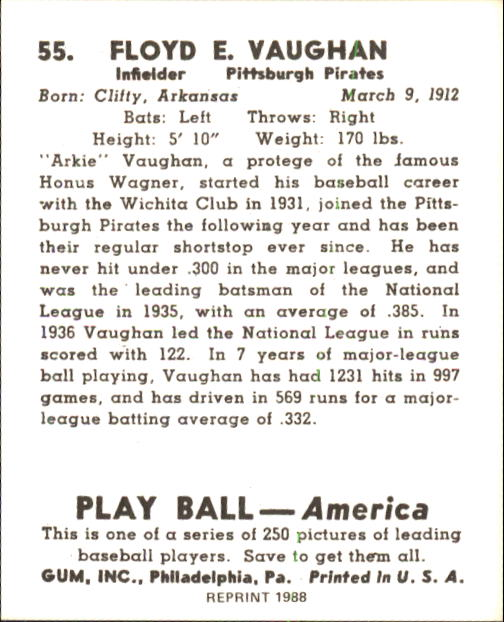 1939 Play Ball #55 Arky Vaughan back image