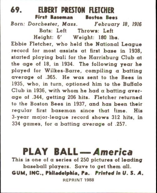 1939 Play Ball #69 Elbie Fletcher RC back image