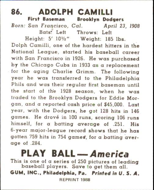 1939 Play Ball #86 Dolph Camilli back image