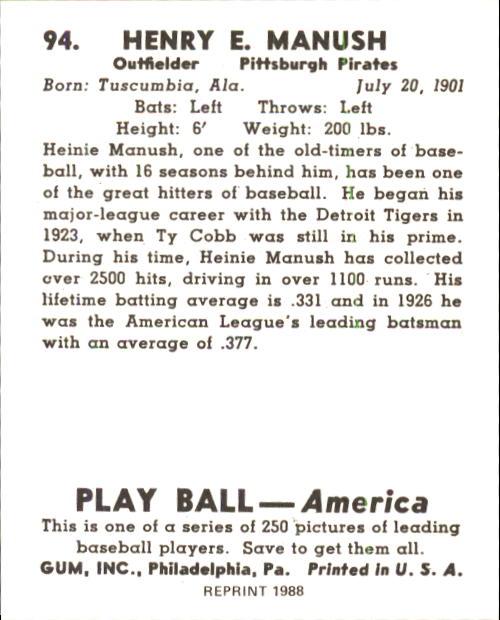 1939 Play Ball #94 Heinie Manush back image