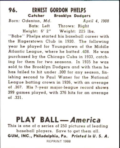 1939 Play Ball #96 Babe Phelps RC back image