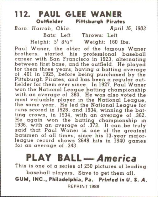 1939 Play Ball #112 Paul Waner back image