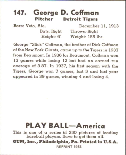 1939 Play Ball #147 George Coffman RC back image