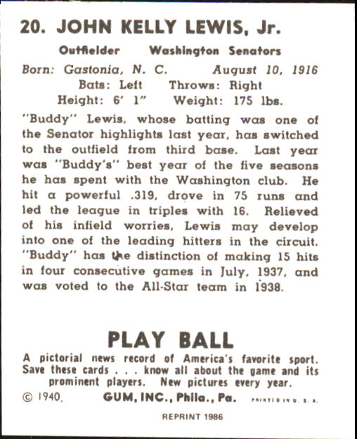 1940 Play Ball #20 Buddy Lewis back image