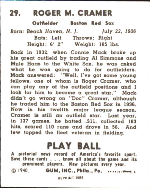 1940 Play Ball #29 Doc Cramer back image