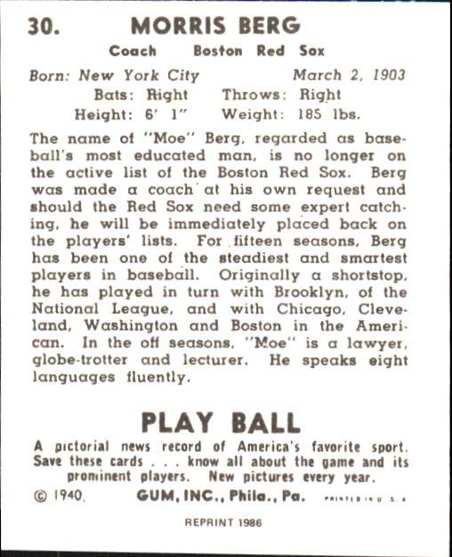 1940 Play Ball #30 Moe Berg back image