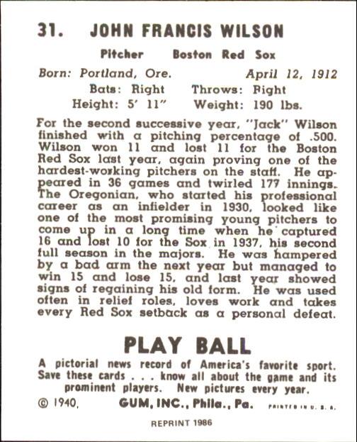 1940 Play Ball #31 Jack Wilson back image