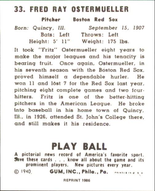 1940 Play Ball #33 Fritz Ostermueller back image