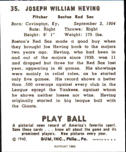 1940 Play Ball #35 Joe Heving back image