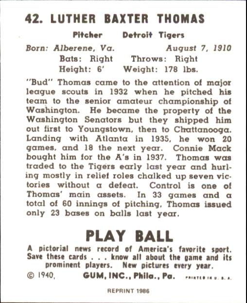 1940 Play Ball #42 Bud Thomas back image