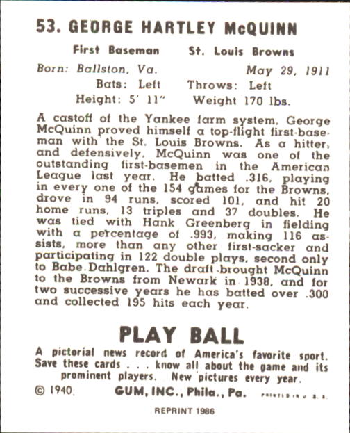 1940 Play Ball #53 George McQuinn back image