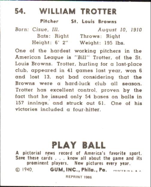 1940 Play Ball #54 Bill Trotter back image