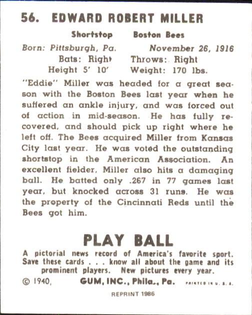 1940 Play Ball #56 Eddie Miller RC back image