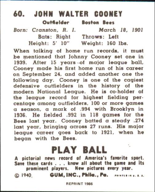 1940 Play Ball #60 John Cooney back image