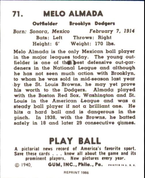 1940 Play Ball #71 Mel Almada back image