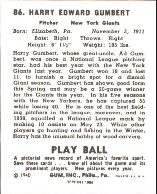 1940 Play Ball #86 Harry Gumbert back image