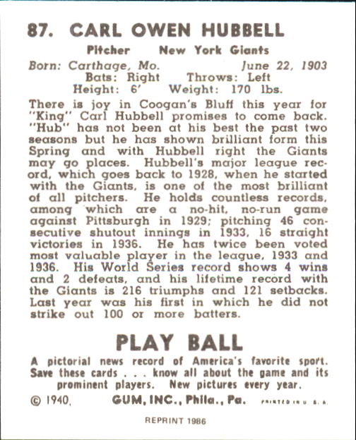 1940 Play Ball #87 Carl Hubbell back image