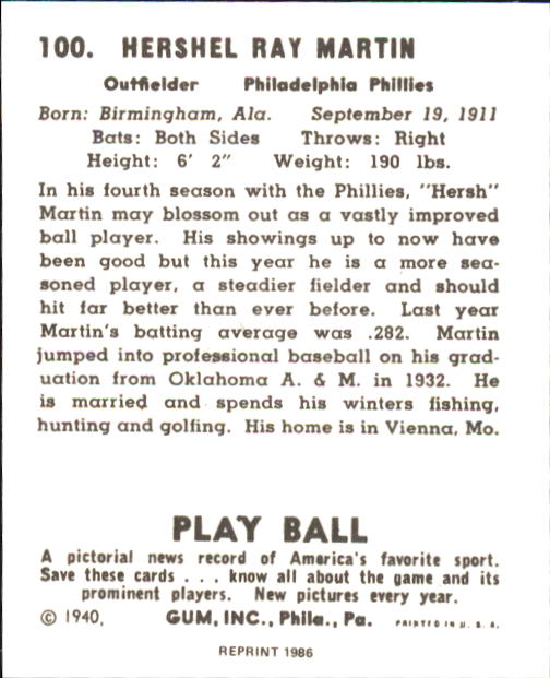 1940 Play Ball #100 Hersh Martin back image