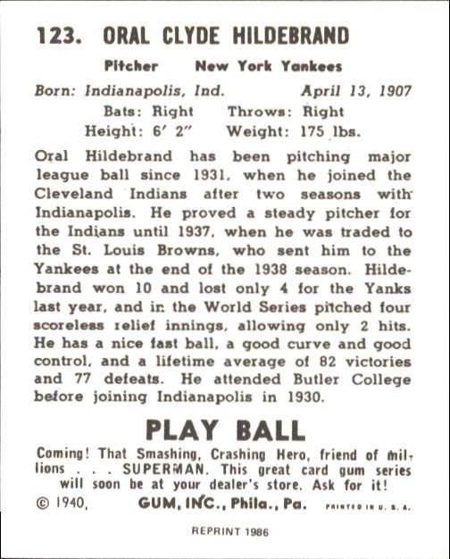 1940 Play Ball #123 Hildy Hildebrand back image