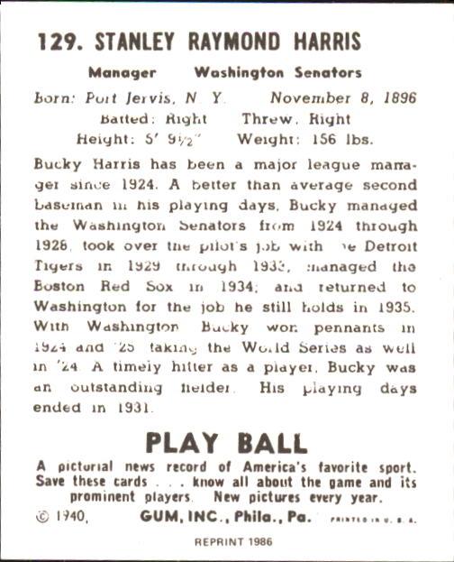 1940 Play Ball #129 Bucky Harris MG RC back image