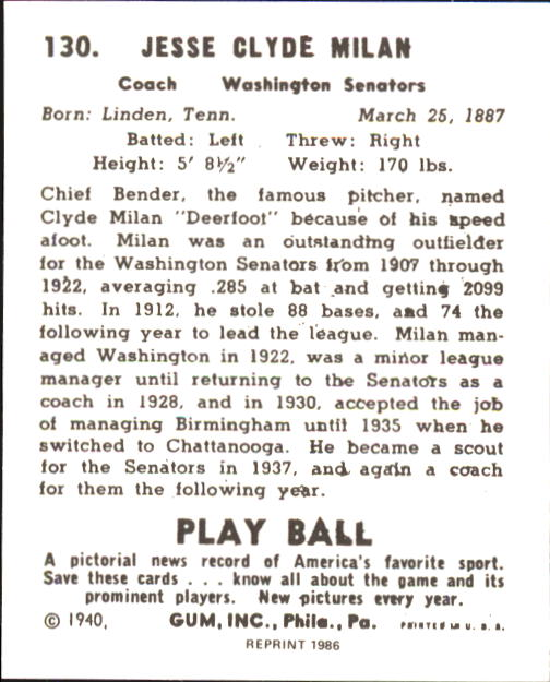 1940 Play Ball #130 Clyde Milan RC back image