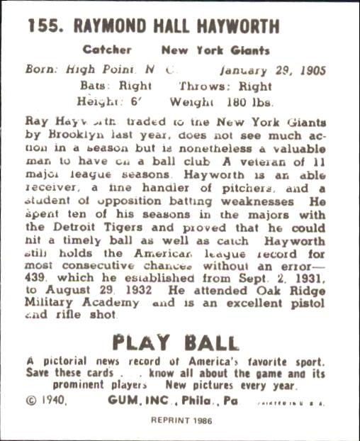 1940 Play Ball #155 Ray Hayworth back image
