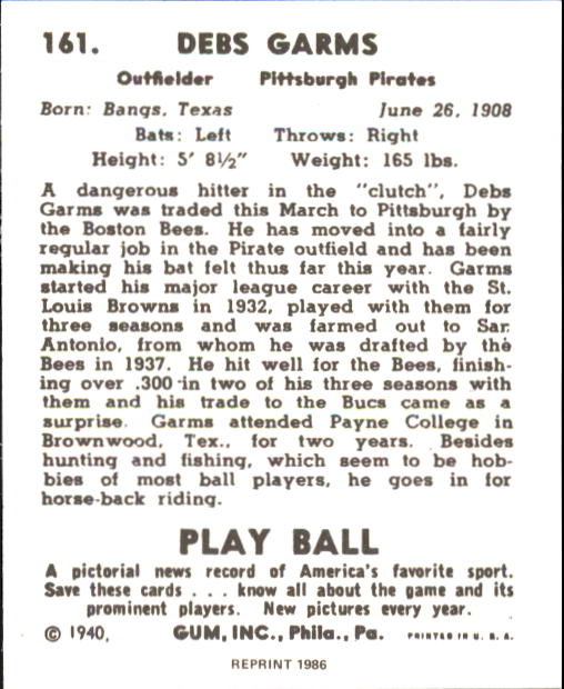 1940 Play Ball #161 Debs Garms back image