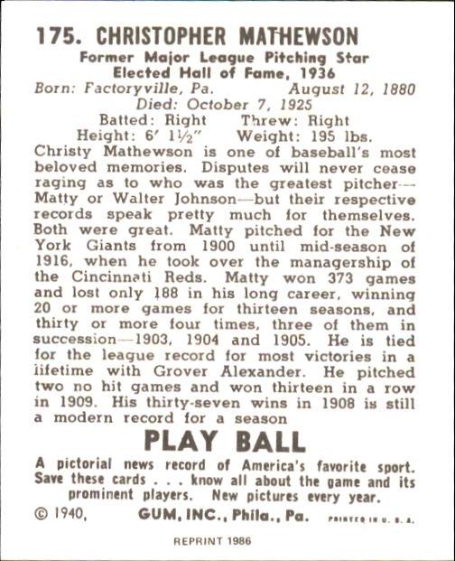 1940 Play Ball #175 Christy Mathewson back image
