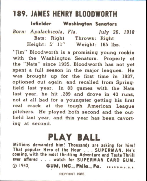 1940 Play Ball #189 Jim Bloodworth RC back image