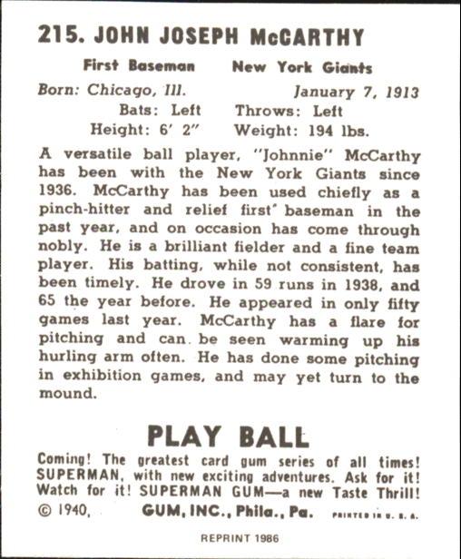 1940 Play Ball #215 Johnnie McCarthy RC back image