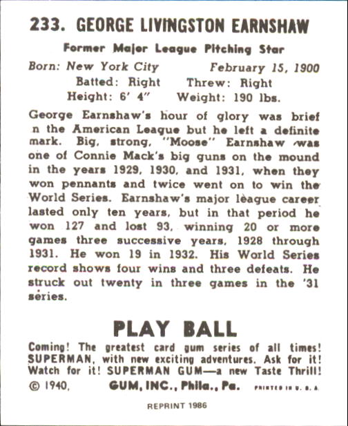 1940 Play Ball #233 George Earnshaw back image