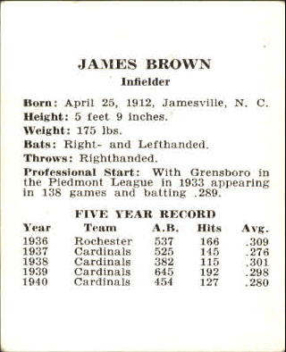 1941 Cardinals W754 #2 Jimmy Brown back image